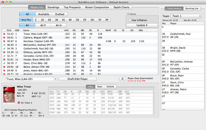 Fantasy Baseball Draft Software - Main View