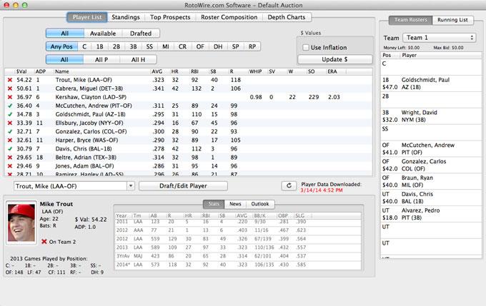 Fantasy Baseball Draft Software - Main View
