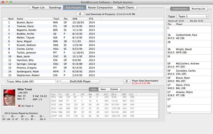 Fantasy Baseball Draft Software - Categories