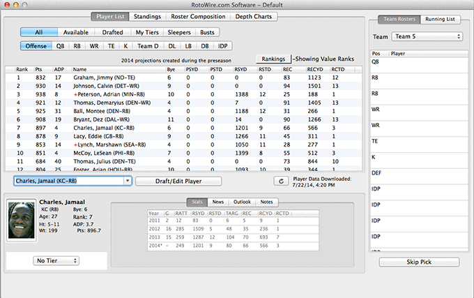 Fantasy Football Draft Software Mac - Main View