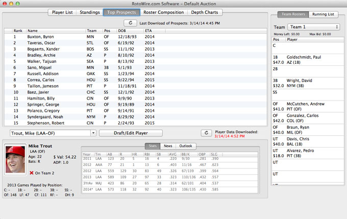 Fantasy Baseball Draft Software - Categories